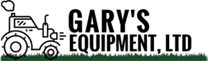 Gary's Equipment, LTD logo with Tractor icon on grass